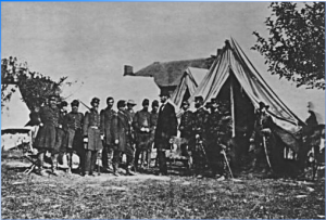 Lincoln with Union Troops